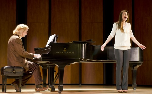 """Senior art history major Margo Cash sings """"Lasciatemi morire!"""" from """"Ariana"""" by Claudio Monteverdi during the student recital, May 4 in Morgan Auditorium. Pianist Kevin Wiley from the music staff at Mt. SAC accompanied Cash's performance. / photo by Zachary Horton"""