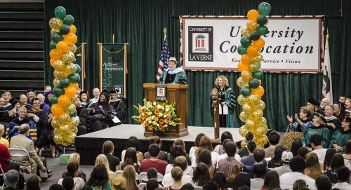 "Kathy Duncan, associate professor of management, spoke to the largest freshman class ever to attend the University of La Verne. In her speech ""The Heart of a Leo,"" Duncan quoted Lady Gaga's song ""Born this way"" to tell students to explore and be themselves. / photo by Zachary Horton"