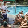 After a week of conditioning in the harsh summer sun, graduate assistant Emerson Gant helps head coach Alex La prepare the water polo team for the first game of the year, which place at the UCLA Invitational Tournament, where they played the national champions USC Trojans. The Leopards were slain by the Trojans, 23-3. / photo by Zachary Horton