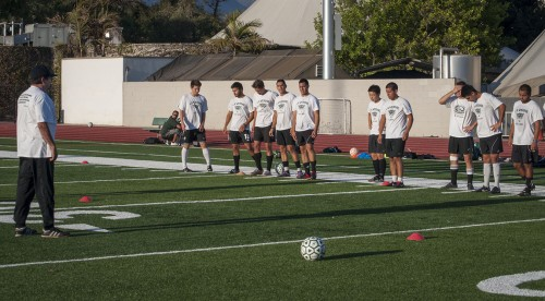 Members of the University of La Verne men's soccer celebrated Labor Day early in the afternoon before heading over to the new stadium for evening practice. After playing two games in New York and flying back the previous morning, the team was back on the field to practice before the first home game of the season, against Pacific University. The Leopards defeated Pacific 3-1. The Leopards will host Bethesda Christian Saturday at Ortmayer Stadium. / photo by Katherine Careaga