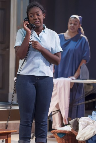 """Beneatha, played by Bradlee Johnson in the theatre department's production of Lorraine Hansberry's """"A Raisin in the Sun,"""" faces dilemmas about her future and what kind of person she wants to be. """"A Raisin in the Sun"""" is the senior thesis project for Gemma Alfaro, Lauren Erivn and Raymond Del Rio, who perform in the play, and Michael Roche, who is the technical director. The play's run will conclude this weekend with performances at 7:30 p.m., Friday and Saturday and a matinee at 2 p.m. Sunday, in Dailey Theatre. / photo by Katherine Careaga"""