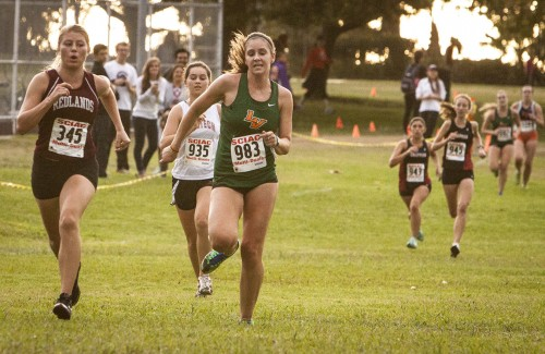 Senior Sydney Rose sprints to the finish line finishing with a 27:19 race time at the SCIAC Multi-Dual Meet in La Mirada Friday. The women's cross-country team finished in sixth place. The men's place third at the meet. / photo by Pablo Cabrera