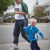 John Durant, son of strength and conditioning coach Matt Durant, and his grandmother Cindy Haaker participate in the 5K Fun Run/Walk hosted by the La Verne Athletic Training Student Club. The 5K was part of the several activities held on Saturday, leading up to the Homecoming football game against Pomona-Pitzer./ photo by Katherine Careaga