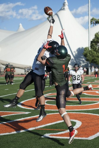 Senior tight end Oscar Bauman reaches for the ball in the end zone for his second touchdown against Occidental Saturday. The Leopards beat the Tigers, 36-24. / photo by Hunter Cole