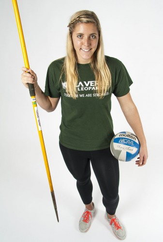Senior liberal studies major Kendall Kraiss is graduating in January after four years of volleyball and three years of track and field for La Verne. Kraiss made all-conference for SCIAC for volleyball the last three years. She also made all-conference for javelin in 2012, Kraiss plans to become a teacher and is considering returning to La Verne for graduate school. / photo by Ryan Gann