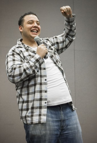 Comedian Dillon Garcia performs on the first day of spring semester, Feb. 4 to kick off Welcome Back Week. The Campus Activities Board hosted events every night Monday through Thursday in the Campus Center ballroom. / photo by Ryan Gann