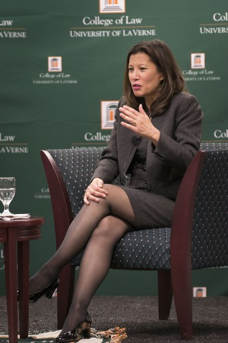 California Chief Justice Tani G. Cantil-Sakauye speaks at the University of La Verne College of Law in a conversation hosted by Adjunct Professor of Law Douglas Miller.