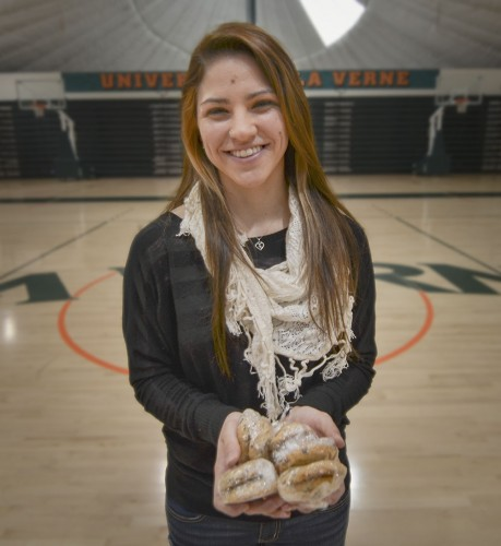 Senior liberal studies major Amanda Copas is celebrating her recent milestone of reaching 1,000 points in her college basketball career. Off the court Amanda enjoys baking cookies for her friends and family. Copas has ambitions of becoming a teacher after graduation. / photo by Mitchell Aleman