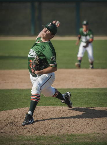 Junior starting pitcher Phil Schick pitched six innings, gave up three hits, no runs, and struck out nine batters against Chapman Saturday. The Leopards split the home doubleheader at Mt. San Antonio College, losing the first game 11-3 and winning the second game 4-1. / photo by Hunter Cole