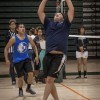 Senior business major Spencer Contreras and junior criminology major Ziggy Azarcon team up to lead their Phi Delta Theta team to a victory on the second night of the four day volleyball tournament, Feb. 27. Phi Delta Theta went on to the finals and eventually lost to the Monstarz./photo by Stephanie Ball