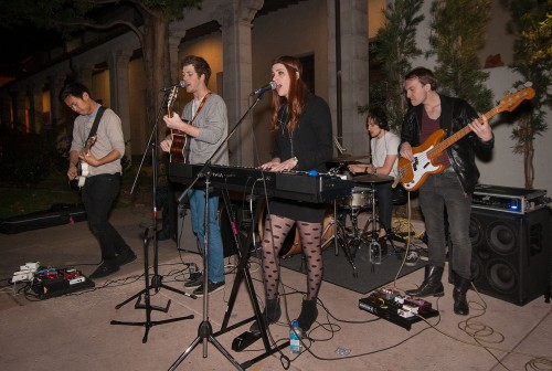Brandon Bae, Eric Radloff, Mia Minichiello, Logan Shrewsbury, Nick Campbell, all students from USC and members of indie rock band Bear Attack, perform at the Pomona College Museum of Art Feb. 28 for the museum's event, Art After Hours, which takes place every Thursday evening from 5 p.m. to 11 p.m. The event has an art gallery and on certain nights, live music or lectures are presented. / photo by Nicole Ambrose