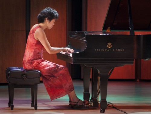"Genevieve Lee, professor of music at Pomona College, performed a solo recital program titled ""Keyboard Kaleidoscope,"" as part of Pianofest 2013. Lee performed Jardins sous la pluie from Estampes by Claude Debussy, among several other works, in the Ann and Steve Morgan Auditorium, Tuesday, March 12 at 8:00 p.m. The last performance of Pianofest will be Sunday, March 17 where Lee will perform with other professors. / photo by Katherine Careaga"