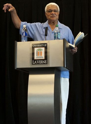 """Al Young presented the honors lecture, """"Can Poetry Save the World?"""" on Tuesday. He read from his book, """"Something About the Blues,"""" about politics and other topics. / photo by Hunter Cole"""
