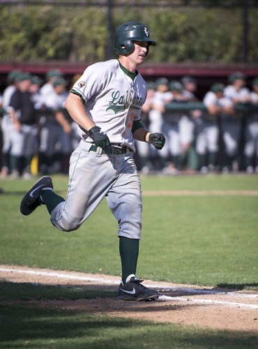 Junior George Hanna runs out an RBI single in the second game of La Verne's doubleheader against Claremont-Mudd-Scripps Saturday. The Leopards won both games, 8-2 and 8-7. Hanna finished the day with one run scored and two RBIs. La Verne is 14-7 on the year and 8-4 in SCIAC. / photo by Christopher Mora