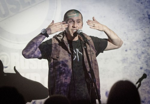 Hip hop artist Ruslan Karaoglanovn creates hip hop music to motivate and entertain his audience. CAB and the Cypher Circle presented the performance of Ruslan's poetry and rap in the Campus Center Monday. / photo by Kelley Maggiulli