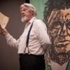"""Norman Marshall performs """"John Brown: Trumpet of Freedom"""" Tuesday in the Campus Center. In this one-man show Marshall played the abolitionist John Brown along with 30 other historical characters to portray the harsh realities of slavery. The show is based on letters and interviews from the final weeks of Brown's life. Marshall began performing his show in 1997./photo by Nicole Ambrose"""
