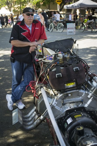 """Downtown La Verne was host to its annual Cool Cruise Car Show Saturday where car enthusiasts from across Southern California showcased their classic cars. Bruce Weeks and James Hammond of Hammond Racing displayed """"April's Dream,"""" a dragster that has seen more than 10 years of racing experience. / photo by Christopher Mora"""