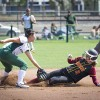 Sophomore Rachel Hong tags out Athena Harmony Palmer as the softball team dropped both games in Saturday's doubleheader against Chapman and Claremont-Mudd-Scripps at Wheeler Park. The Leopards gave up a total of 17 runs and were held to only three runs in both games. The losses puts the Leopards at 19-13 on the year and 11-11 in SCIAC play. /photo by Christopher Mora
