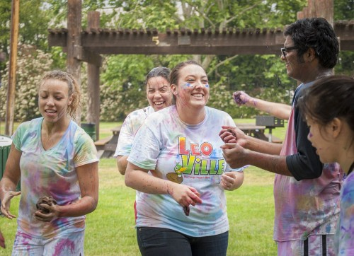 The Renew Christian Club hosted a paint war at Las Flores Park on April 13. The event included water balloons filled with food coloring, and bowls of diluted paint in which participants soaked their weapons. sponges in stockings. / photo by Kelley Maggiulli
