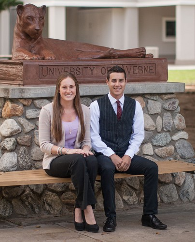 Bethie Ross, junior biology major, and David Asbra, freshman political science major, have been elected president and vice president of Associated Students of University of La Verne for 2013-2014. Ross has been involved with ASULV since her freshman year and has served as a senator every year. She will succeed Ava Jahanvash. This year is Asbra's first year being involved with ASULV. He served as a senator before running for vice president. / photo by Nicole Ambrose