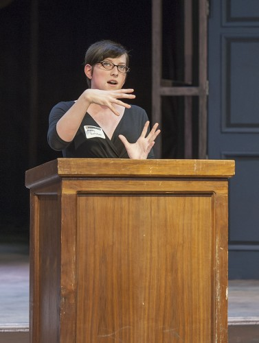 """Cal State Fullerton student Ashley Lunsford presented """"Verbal and Written Exhibitionism: Demonstrating Transformations Through Language"""" using examples from Shakespeare's """"The Merchant of Venice."""" ULV hosted its inaugural Shakespeare Conference in Dailey Theatre on April 27. / photo by Hunter Cole"""