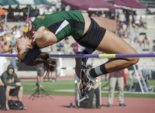 Freshman jumper Angelina Arreola competes during the women's high jump final Saturday. She placed 14th in SCIAC, clearing a height of 1.47m. The women's team won its first SCIAC Championship since 2005 with 162 points. The men's team finished second with 149 points. / photo by Zachary Horton