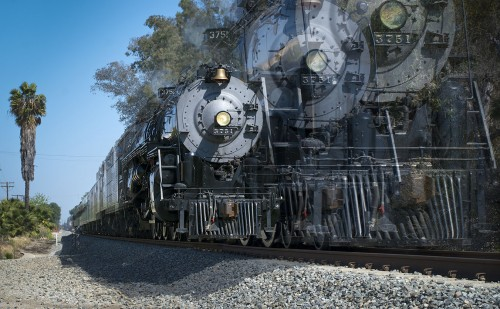 The Santa Fe 3751 roared past La Verne Sunday, traveling from Bakersfield to Los Angeles on a rail fan excursion. The 4-8-4 steam engine hauled its first passenger train in 1938, and thanks to the San Bernardino Railroad Historical Society, Santa Fe 3751 still carries passengers through Southern California on 80-inch drive wheels, and can be viewed south of Arrow Highway between San Dimas Canyon Road and Wheeler Avenue. The San Bernardino Railroad Historical Society was founded in 1981. / photo by Mitchell Aleman