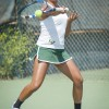 Freshman Andrea Madrigal smashes the ball over the net for a point against a doubles team from Claremont Mudd Scripps in the tournament semifinals at the Upland Tennis Club. Winning more games this season than any other season with a record of 5-3 in conference play, La Verne women's tennis team earned a spot to play and host the Southern California Intercollegiate Athletic Conference Tennis Championship. The Leopards placed fourth in the tournament and fourth overall in the conference. / photo by Hunter Cole
