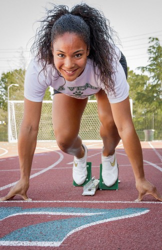 Junior computer engineering major Nicole Crutchfield helped lead the women's track and field team to a SCIAC Conference Championship this season. Crutchfield is a sprinter for the Leopards, competing in the 100, 200, 4x100 races. She took first place at the SCIAC Championships in the 100 and anchored the 4x100 where La Verne finished third. / photo by Ryan Gann