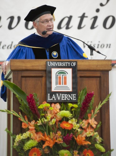 """Presenting the official opening of the 122nd academic year at the University of La Verne, Master of Ceremonies and Provost Greg Dewey, welcomes all with his speech """"Creation of the Future."""" / photo by Hunter Cole"""