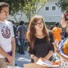Cal Poly Pomona junior civil engineering major Hector Cardenas and Crystal Hermosillo, junior liberal studies major at La Verne, talk with Rosa Lilia Gradilla, the intercultural program coordinator, about the Multicultural Club diversity retreat. Gradilla hosted the welcome back barbecue held by the Multicultural and First Generation clubs Sept. 5. / Stephanie Ball
