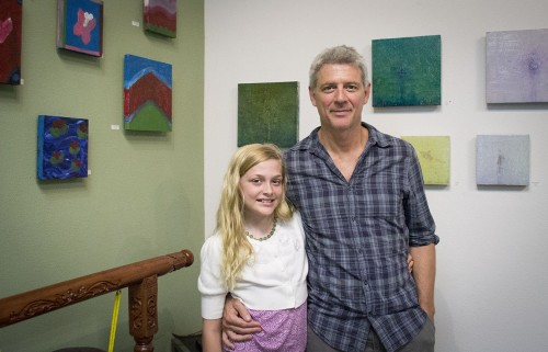 "Father and daughter artists Christopher and Sequoia Cousins display their oil and mixed media works in an exhibit titled ""Family Archetypes"" at Buddhamouse Emporium in Claremont. Christopher Cousins is known for his role as Ted Beneke in the AMC television series ""Breaking Bad."" In 2000, he started showing his artwork around the Los Angeles area, and in 2005 he participated in his first international exhibition in Venice, Italy. Sequoia Cousins is 10 years old and has occasionally worked with her father in his studio. / photo by Jasmin Miranda"
