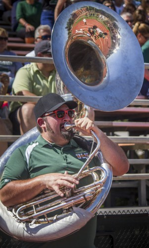 Joshua Williams, a senior CAPA student, is the president of the University of La Verne Pep Band. The Pep Band has been recognized as a club on campus since 2012, but Williams had been planning the band since 2011. Williams plays the tuba for the band, but also plays trombone and bass on the side. The 15-person band dedicates Saturday mornings for practice. / photo by Celine Dehbar