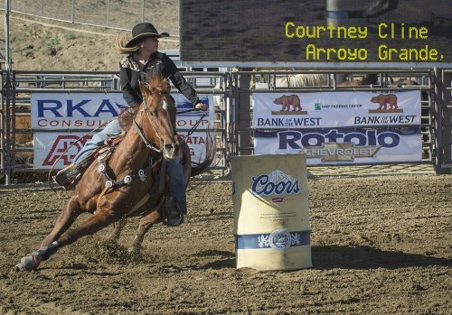 Courtney Cline of Arroyo Grande, Calif., competes in the barrel-racing event at the 19th Annual San Dimas Western Days Rodeo. The event took place Saturday and Sunday with events including bronco riding, bareback bronco riding, bull riding, tie-down wrestling, steer wrestling, team roping and barrel-racing. / photo by Sarah Golden