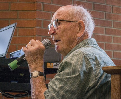 Charles Davis, class of 1948, speaks as part of a panel of four La Verne alumni who worked during World War II in Civilian Public Service. They discussed their positions as pacifist conscientious objectors during the war and the reactions they faced from friends and family at that time. A plaque dedication was held outside the Chapel honoring 42 La Verne College students who have served in alternative Civilian Public Service. Davis was in Civilian Public Service from June 15, 1943, to June 12, 1946. / photo by Sarah Golden
