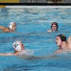 During the third period, freshman attacker Sam Baker scans the pool at Claremont-Mudd-Scripps before passing the ball. Senior defender and utility player Daniel Hargis advances toward the goal. The Stags closed the game with an 18-8 win over La Verne. / photo by Jasmin Miranda
