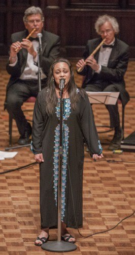 Giselle Garcia and the rest of the UC Santa Barbara Middle East Ensemble perform at Mabel Shaw Bridges Hall of Music at Pomona College on Saturday. The Ensemble brought some of its performers, including members from the band, choir and dancers. / photo by Stephanie Ball
