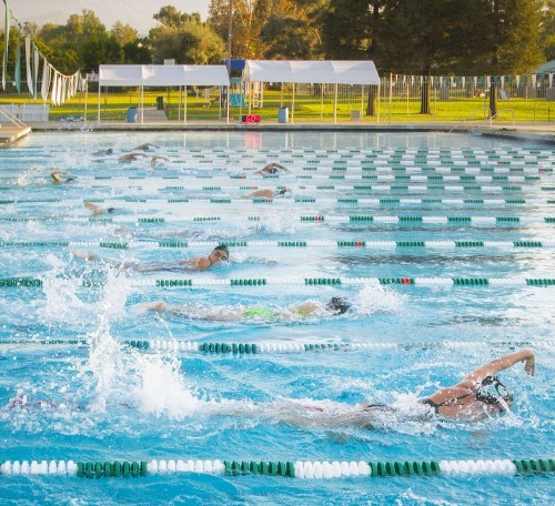 Coach Pat Skehan oversees the swim team practice for the upcoming meet. Assistant coaches Mike Kuzman, Gary Appel, and Erin Morten lead the 600-yard warm-up and rev-ups. The team works on breakout cords, parachutes, and kicking exercises. The Leopards compete against Occidental at 11 a.m. Saturday at the La Verne Aquatic Center. / photo by Sarah Golden