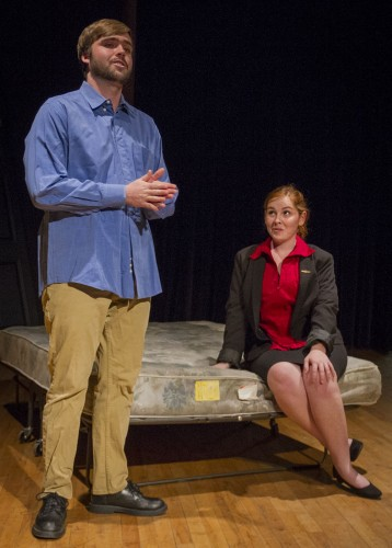"Kyle Boardman and Emily Jardel run through a scene from George Furth's play ""Company."" The Department of Theatre Arts presents ""An Evening of Directing Projects,"" facilitated by Sean Dillon, which allows students to direct plays. The showcase opened Wednesday in the Jane Dibbell Cabaret. / photo by Jessica Harsen"