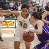 La Verne sophomore Jasmine Bush attempts to defend the basket against Cal Lutheran freshman Jessica Salottolo during Saturday's game at Frantz Athletic Court. The game ended in a 63- 47 loss for the Leopards putting La Verne on a two game losing streak. / photo by Stephanie Ball