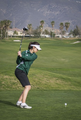 Jessica Serrano, the only woman on La Verne's golf team, competed in her first SCIAC match Saturday and Sunday at Sierra Lakes Golf Club in Fontana. / photo by Helen Arase