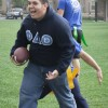 teven Santana, president of Phi Delta Theta, and his fratbrothers play a game of flag football on the South Quad on Wednesday for Rush Week. Santana made the catch, but his flags are pulled immediately afterward. Photo By: Austen Beck