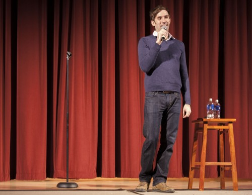 Comedian Michael Palascak from Indiana performs his stand-up routine to a full house Wednesday night in Morgan Auditorium. CAB hosted the event with free food afterward and a meet and greet with Palascak himself. / photo by Austen Beck