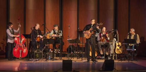 Music Department Associate Michael Ryan brings the Spirit of Ireland to Morgan Auditorium Sunday night in a sold out show. Accompanied by Irish dancers, he and his band performed popular hits along with some of his own compositions. / photo by Veronica Orozco