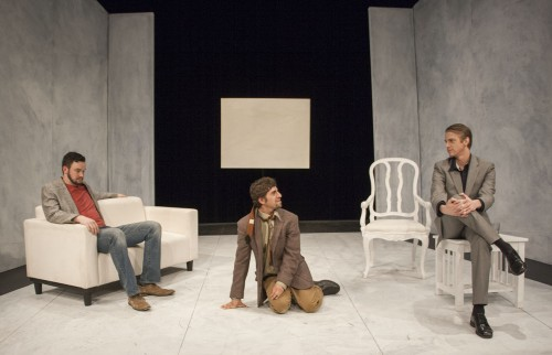 """The theatre arts department presented """"Art"""" by Yasmina Reza, a senior project performed by Jacob Tittl, Alon Dina and Jordan Randall. The play is about the relationship between three friends who humorously argue about a white painting. """"Art"""" was directed by David Flaten and ran from March 6 through March 11 in Dailey Theatre. / photo by Austen Beck"""