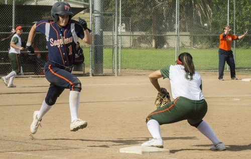 Danielle Vela, junior second baseman, rushes to cover first base as Sagehens' Lauren Boden quickly approaches during the second game of Saturday's doubleheader. The Leopards lost the game, 7-4, in seven innings. Following a doubleheader sweep of Occidental the following day, the team improved its record to 10-14 overall and 6-8 in the Southern California Intercollegiate Athletic Conference, good for sixth place. The Leopards host third place Cal Lutheran next in a doubleheader starting at noon Saturday at Wheeler Park / photo by Amanda Nieto