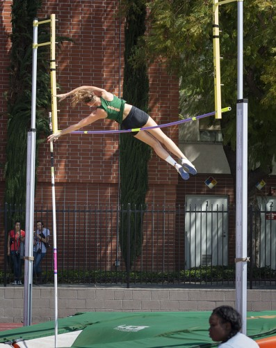 Katie Yeager, a senior captain and an NCAA Division III national caliber pole-vaulter, came in first place at the La Verne Multi-Dual 2 meet Saturday with a finish of 11-5.75. The women's track and field team beat both Redlands and Whittier to remain undefeated. / photo by Austen Beck