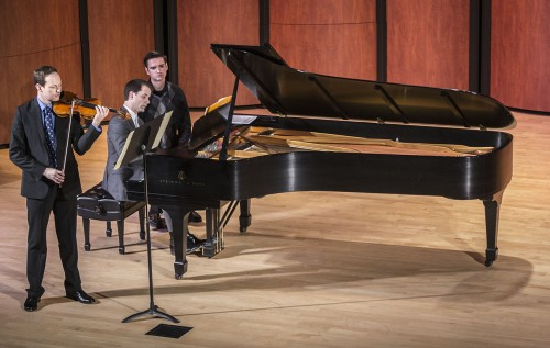 Guest pianist Timothy Durkovic and violinist Sam Fischer perform music by Franz Schubert at Sundays at the Morgan with clarinetist Phil O'Connor. Fischer prefaced this piece with background information about the composer and context on the song for the audience. Along with Schubert's music, works by Tartini, Broughton and Stravinsky were performed. The next performance is the L.A. Opera Placido Domingo Young Opera Singers at 6 p.m. on April 13 in Morgan Auditorium. / photo by Helen Arase