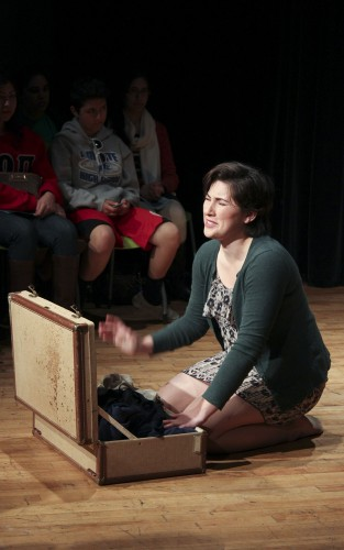 """Sophomore Mona Lutfi plays the role of Jasna in Gavran's """"All About Women"""" last Saturday night. The play dealt with two sisters who finally reconcile on their mother's birthday after seven years of misunderstanding. Senior Jordan Randall directed the piece. / photo by Alison Rodriguez"""