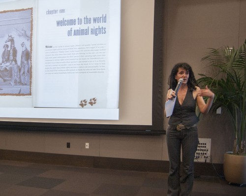 """Karen Dawn, an animal rights activist, discussed the various topics in her book, """"Thanking the Monkey: Rethinking the Way We Treat Animals,"""" at an event hosted by the Reaching Out for Animal Rights club Monday in the Campus Center. Dawn exposed how animals are really treated in American zoos, factory farming and the entertainment industry and why people should be more conscious about what they put on their plates. / photo by Katie Madden"""